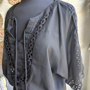 Hale Bob 🌼 S black sheer Bohemian tunic